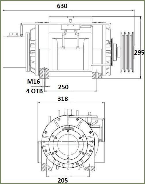 Габаритные и присоединительные размеры насоса К-505