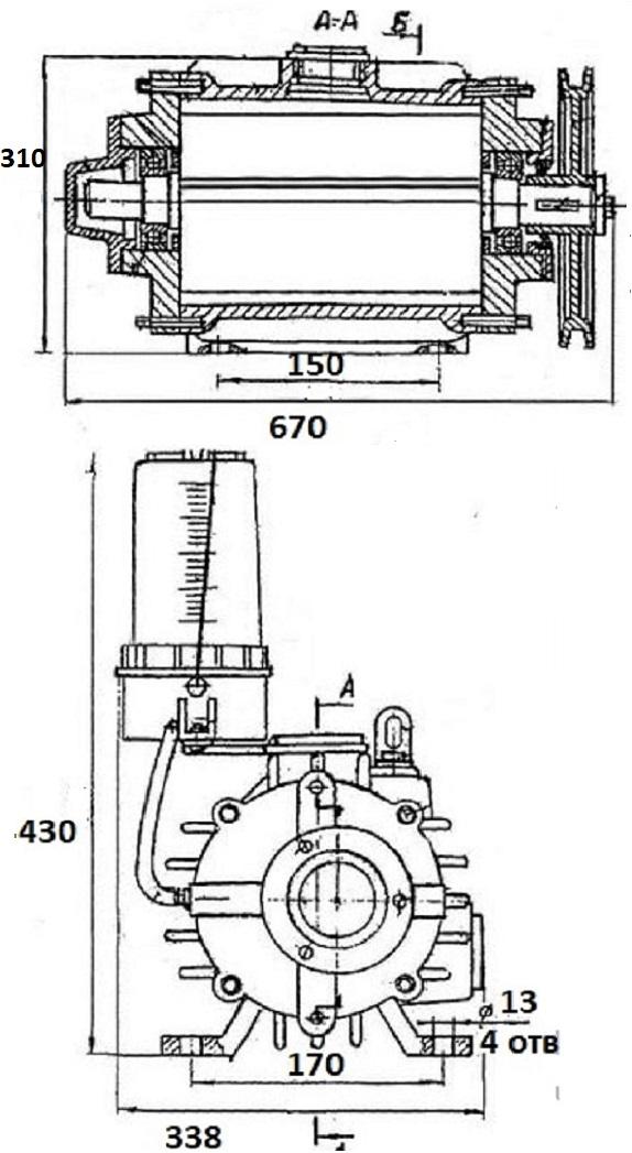 Габаритные и присоединительные размеры насоса К-510