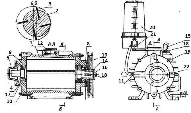 Конструкция и устройство вакуумного насоса К0 510 ассенизатора в разрезе